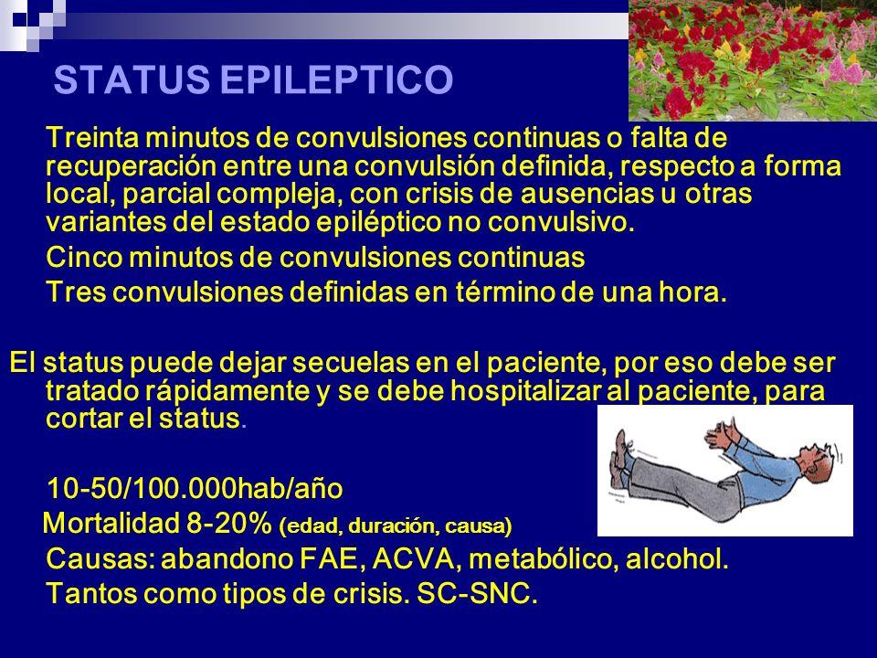 STATUS EPILEPTICO Treinta minutos de convulsiones continuas o falta de recuperación entre una convulsión definida, respecto a forma local, parcial compleja, con crisis de ausencias u otras variantes del estado epiléptico no convulsivo.
