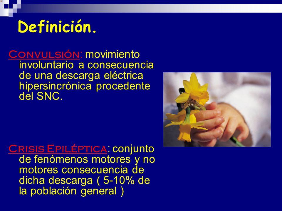 Definición. Convulsión: movimiento involuntario a consecuencia de una descarga eléctrica hipersincrónica procedente del SNC. Crisis Epiléptica: conjun