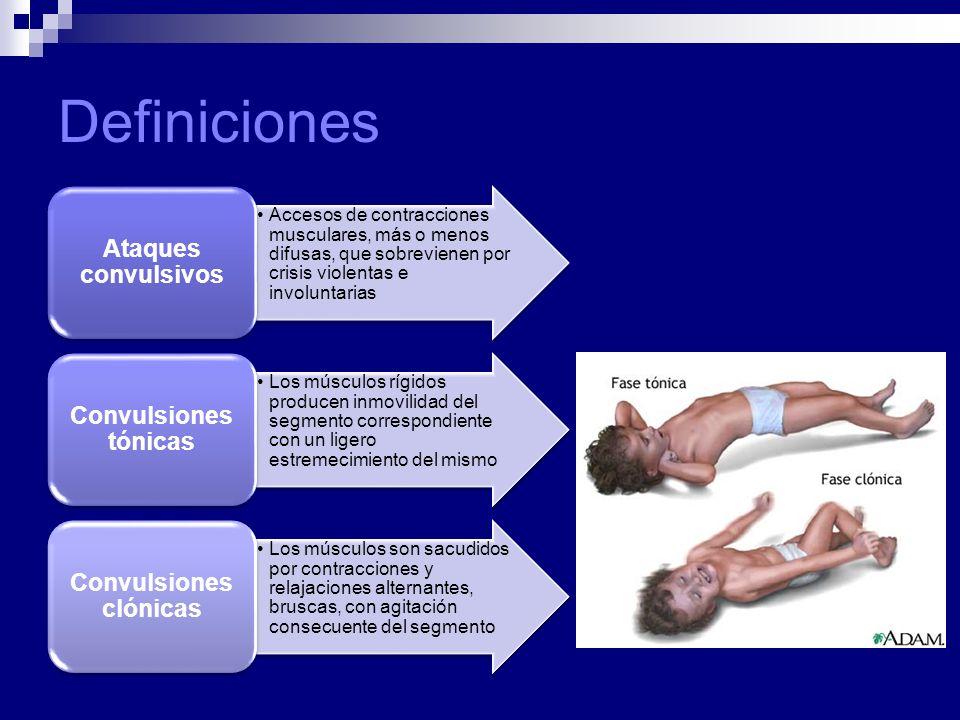 Definiciones Accesos de contracciones musculares, más o menos difusas, que sobrevienen por crisis violentas e involuntarias Ataques convulsivos Los mú