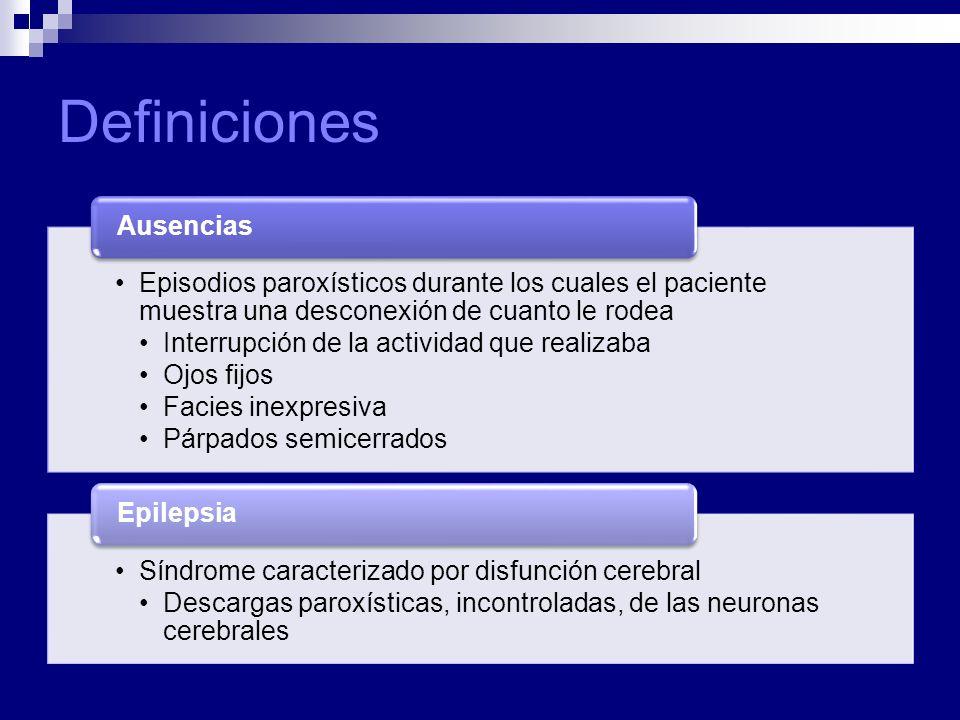 Definiciones Episodios paroxísticos durante los cuales el paciente muestra una desconexión de cuanto le rodea Interrupción de la actividad que realizaba Ojos fijos Facies inexpresiva Párpados semicerrados Ausencias Síndrome caracterizado por disfunción cerebral Descargas paroxísticas, incontroladas, de las neuronas cerebrales Epilepsia