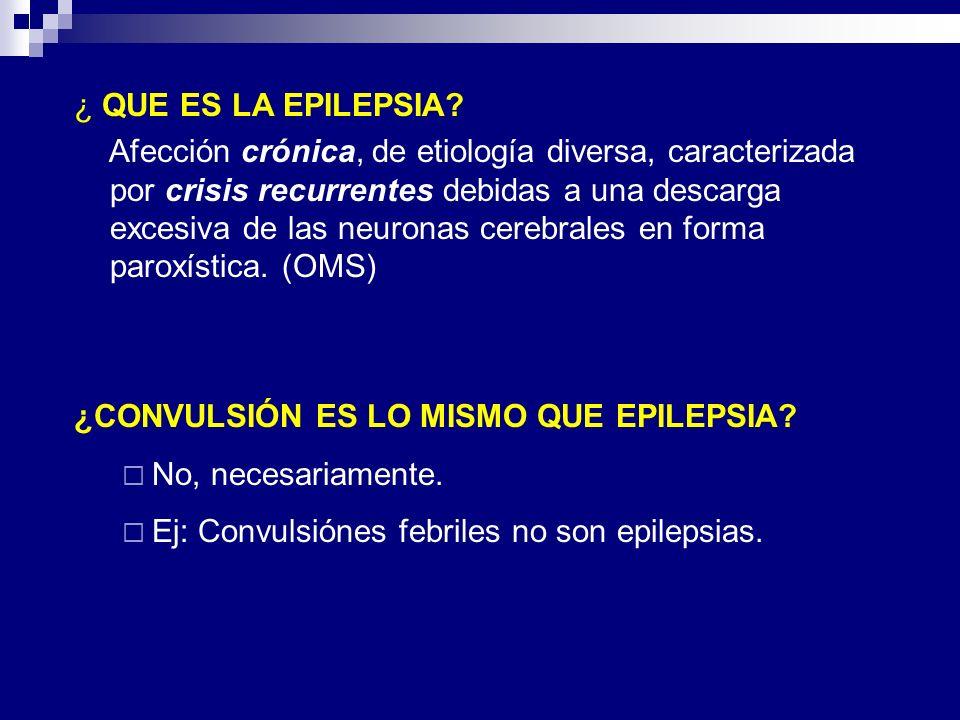 ¿ QUE ES LA EPILEPSIA? Afección crónica, de etiología diversa, caracterizada por crisis recurrentes debidas a una descarga excesiva de las neuronas ce