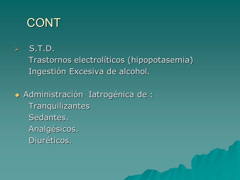 CONT S.T.D. S.T.D. Trastornos electrolíticos (hipopotasemia) Trastornos electrolíticos (hipopotasemia) Ingestión Excesiva de alcohol. Ingestión Excesi