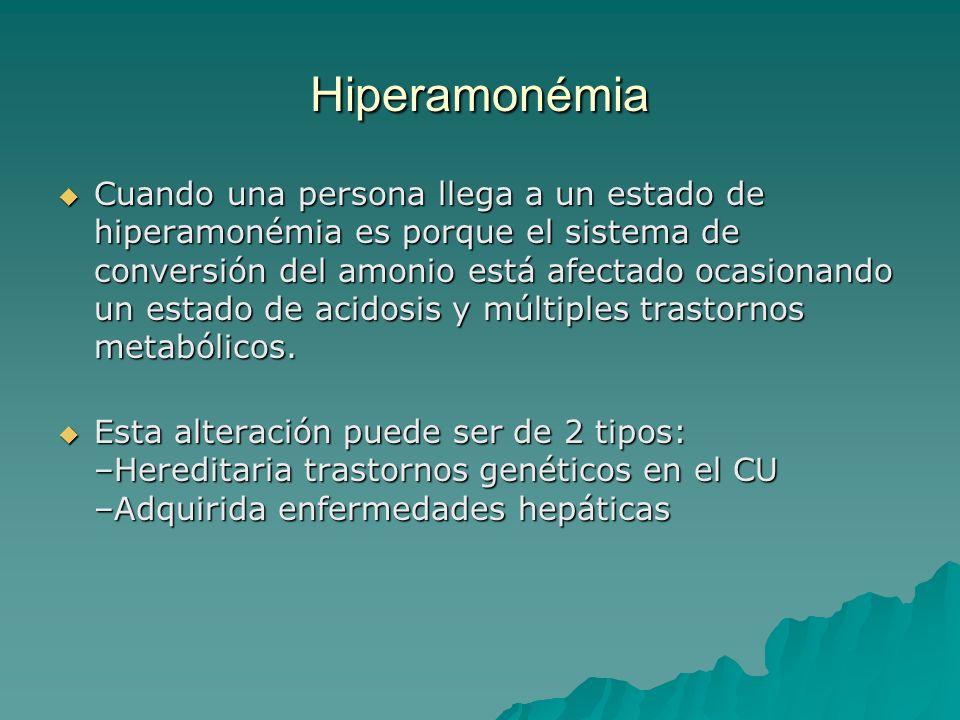 Hiperamonémia Cuando una persona llega a un estado de hiperamonémia es porque el sistema de conversión del amonio está afectado ocasionando un estado