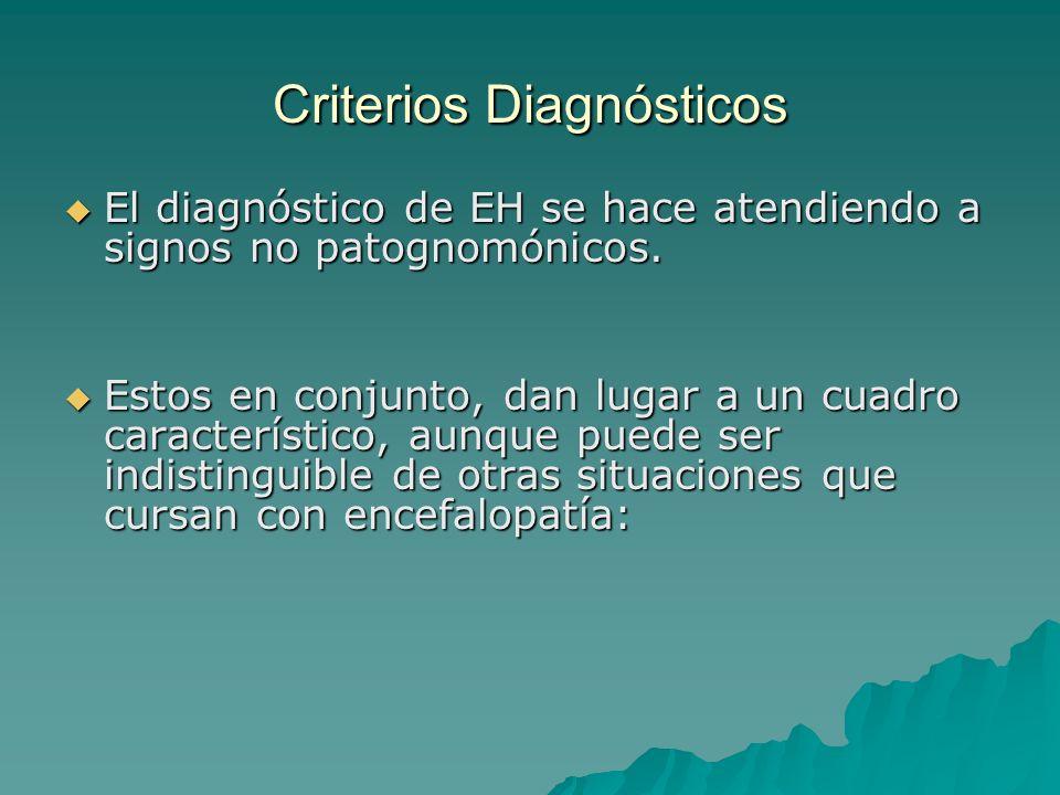 Criterios Diagnósticos El diagnóstico de EH se hace atendiendo a signos no patognomónicos. El diagnóstico de EH se hace atendiendo a signos no patogno