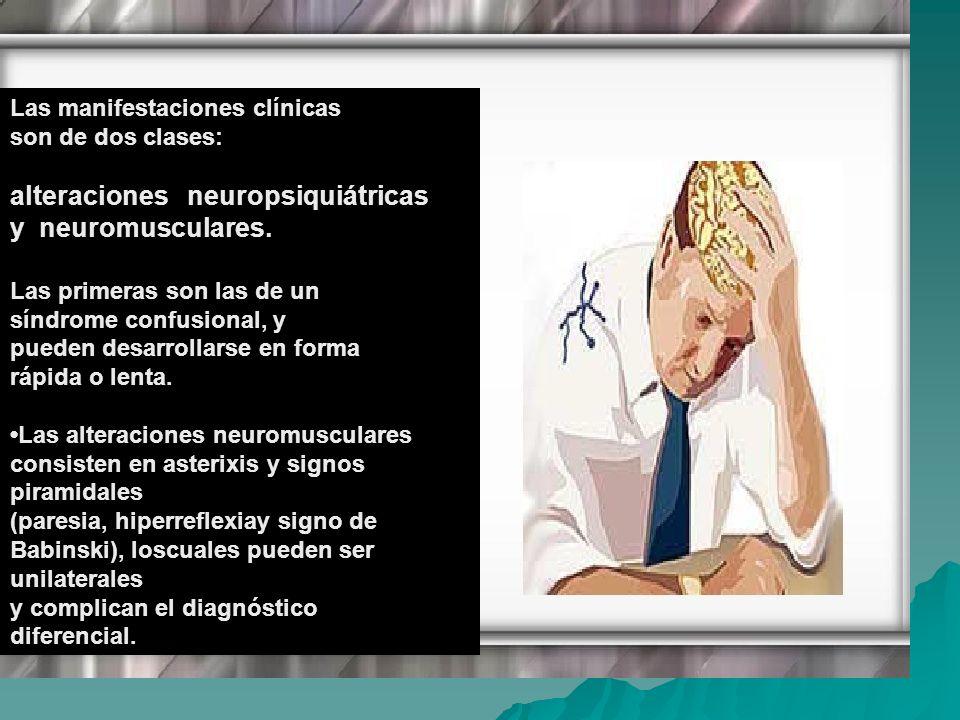 Las manifestaciones clínicas son de dos clases: alteraciones neuropsiquiátricas y neuromusculares. Las primeras son las de un síndrome confusional, y