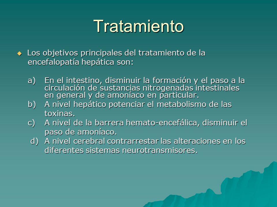 Tratamiento Los objetivos principales del tratamiento de la Los objetivos principales del tratamiento de la encefalopatía hepática son: encefalopatía