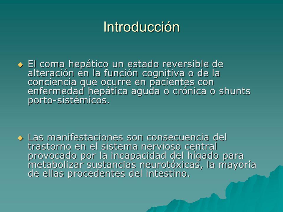 Introducción El coma hepático un estado reversible de alteración en la función cognitiva o de la conciencia que ocurre en pacientes con enfermedad hep