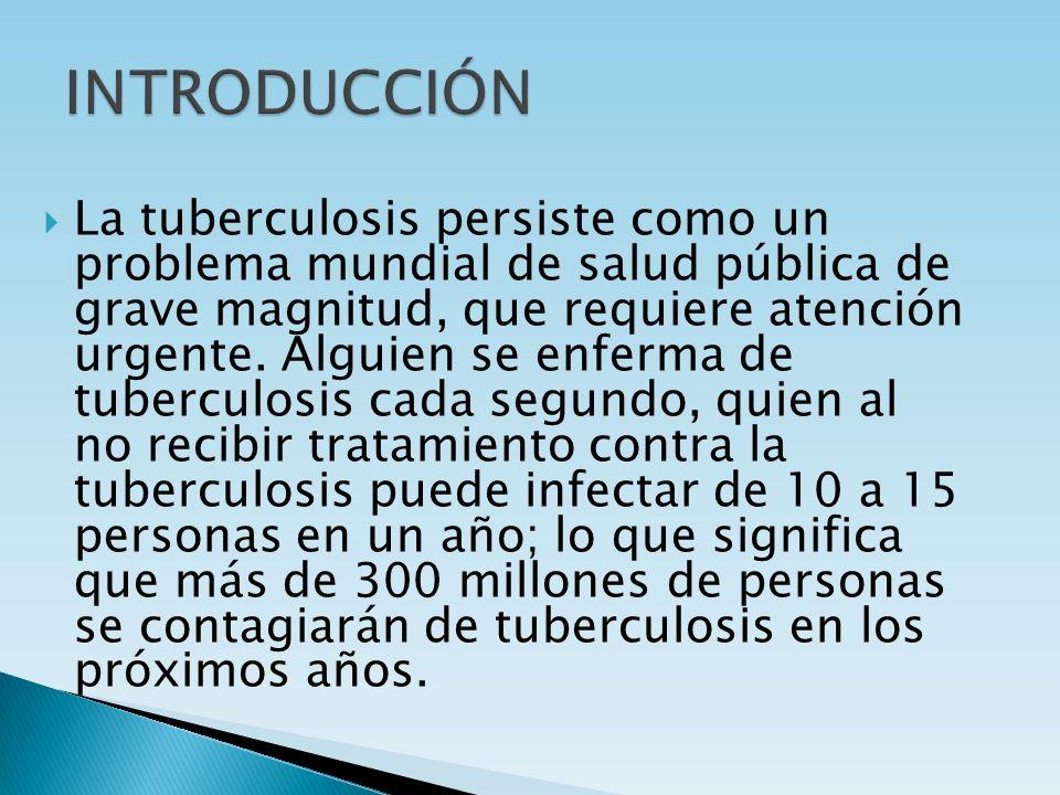 La tuberculosis persiste como un problema mundial de salud pública de grave magnitud, que requiere atención urgente. Alguien se enferma de tuberculosi
