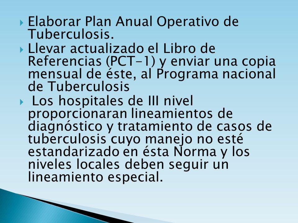 Elaborar Plan Anual Operativo de Tuberculosis. Llevar actualizado el Libro de Referencias (PCT-1) y enviar una copia mensual de éste, al Programa naci