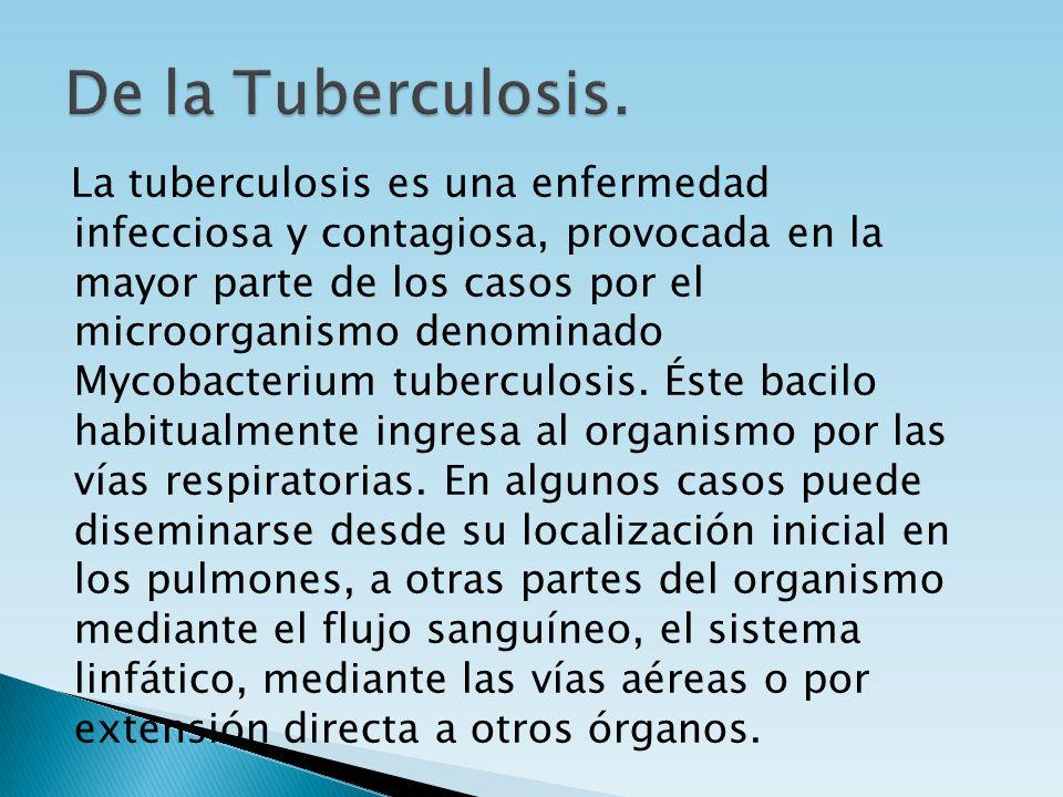 La tuberculosis es una enfermedad infecciosa y contagiosa, provocada en la mayor parte de los casos por el microorganismo denominado Mycobacterium tub