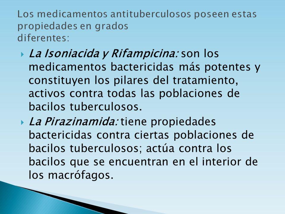 La Isoniacida y Rifampicina: son los medicamentos bactericidas más potentes y constituyen los pilares del tratamiento, activos contra todas las poblac