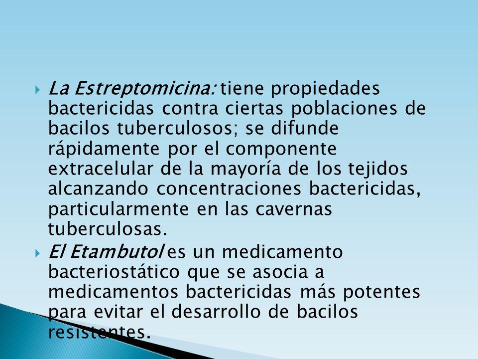 La Estreptomicina: tiene propiedades bactericidas contra ciertas poblaciones de bacilos tuberculosos; se difunde rápidamente por el componente extrace