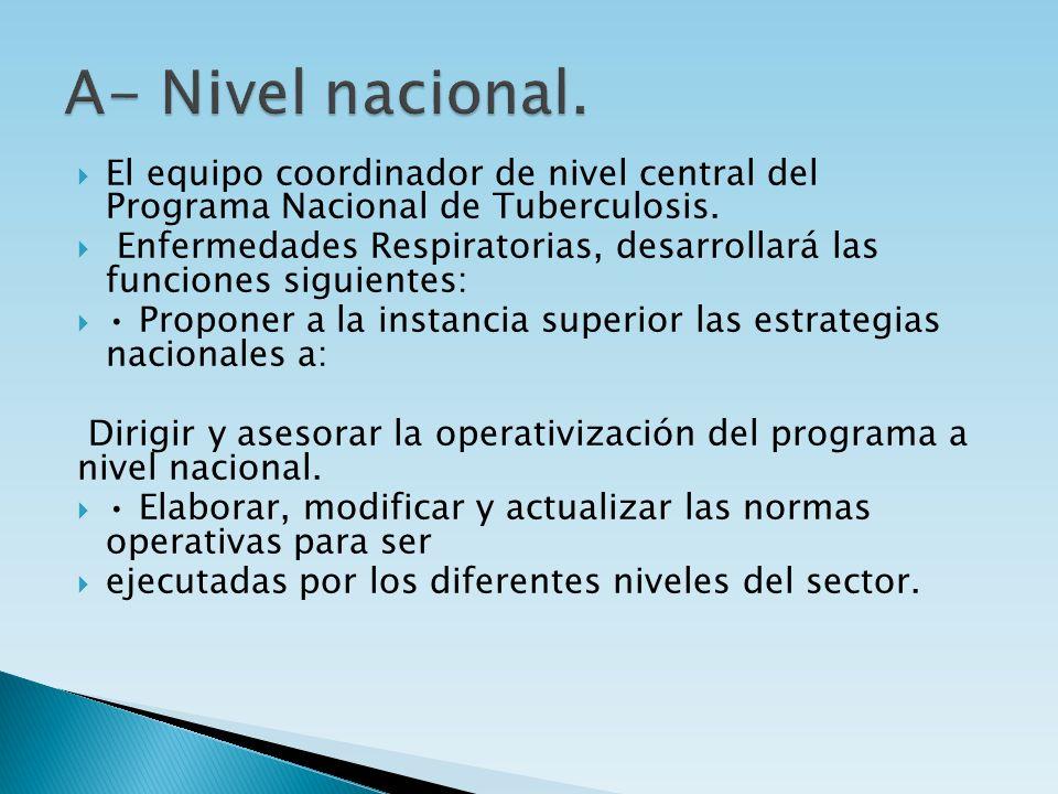 El equipo coordinador de nivel central del Programa Nacional de Tuberculosis. Enfermedades Respiratorias, desarrollará las funciones siguientes: Propo