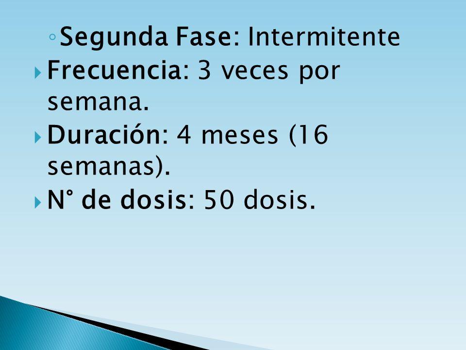 Segunda Fase: Intermitente Frecuencia: 3 veces por semana. Duración: 4 meses (16 semanas). N° de dosis: 50 dosis.