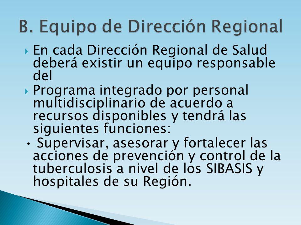 En cada Dirección Regional de Salud deberá existir un equipo responsable del Programa integrado por personal multidisciplinario de acuerdo a recursos