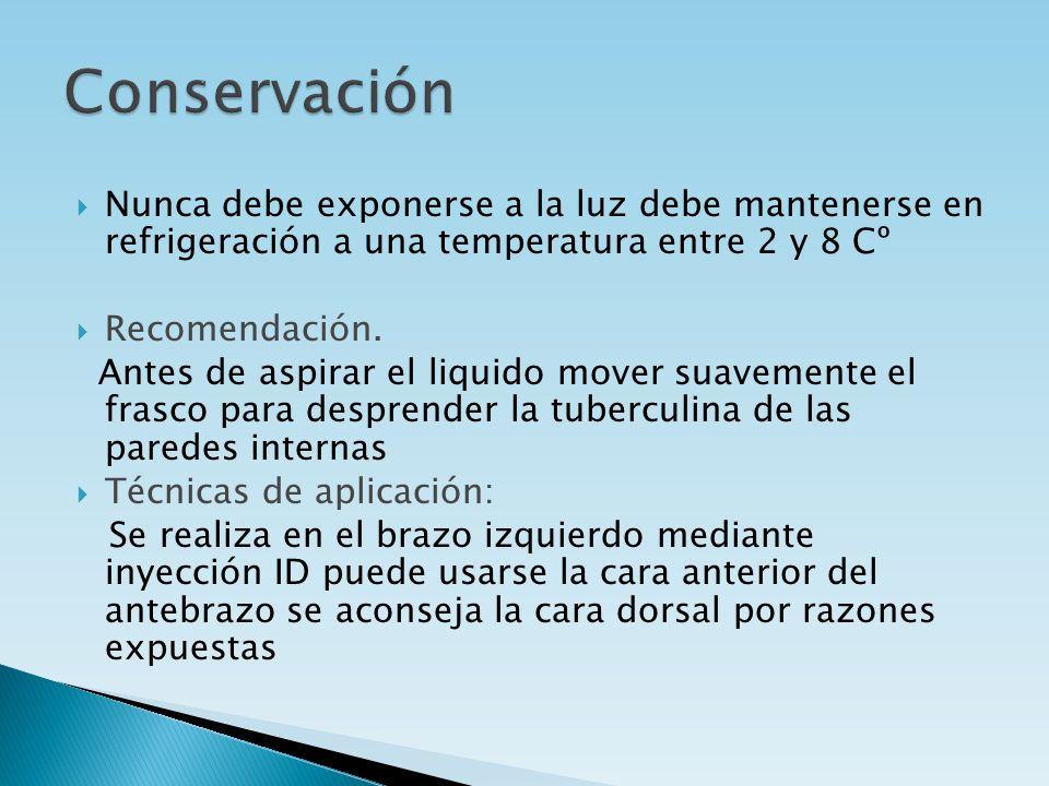 Nunca debe exponerse a la luz debe mantenerse en refrigeración a una temperatura entre 2 y 8 Cº Recomendación. Antes de aspirar el liquido mover suave