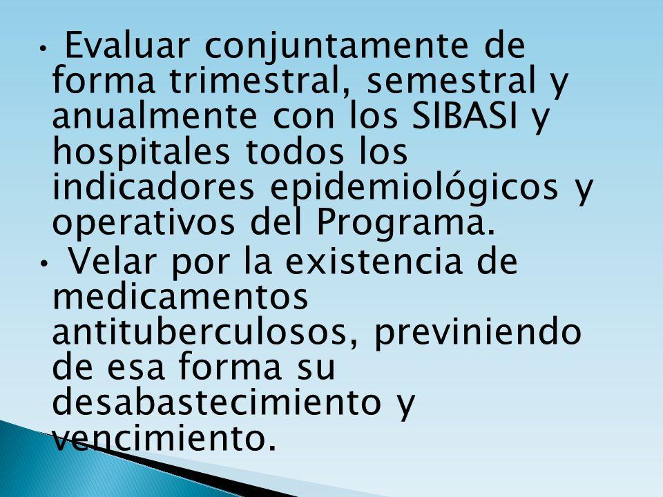 Evaluar conjuntamente de forma trimestral, semestral y anualmente con los SIBASI y hospitales todos los indicadores epidemiológicos y operativos del P