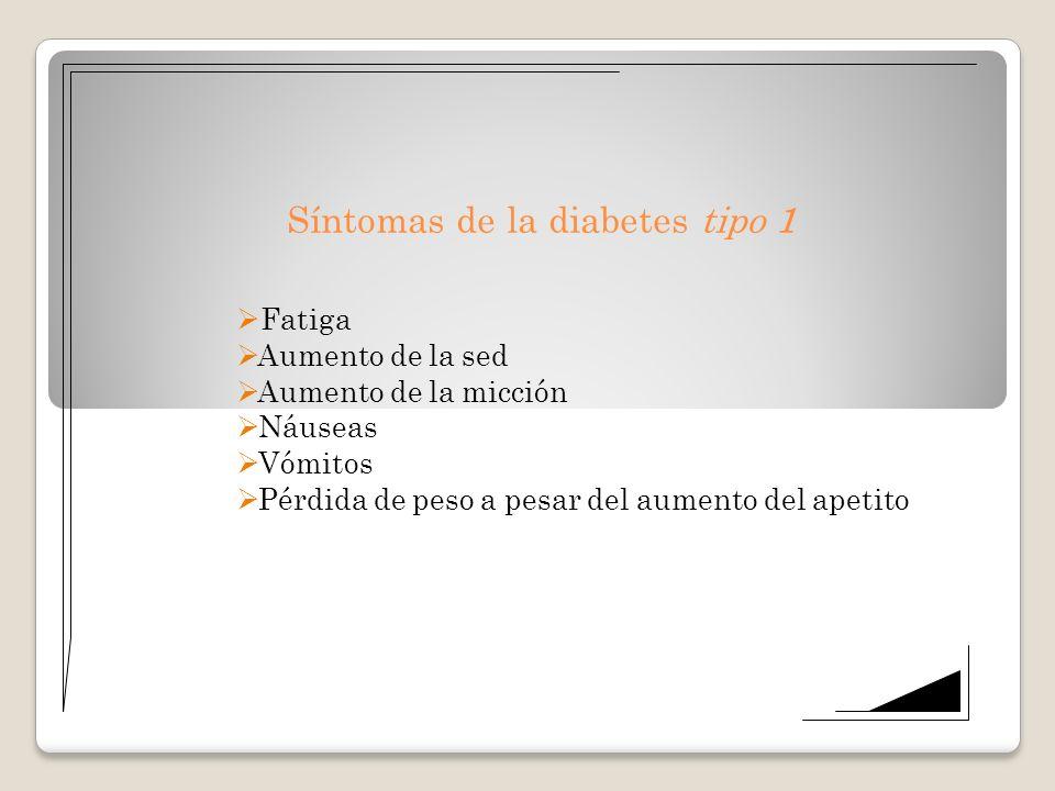 Síntomas de la diabetes tipo 1 Fatiga Aumento de la sed Aumento de la micción Náuseas Vómitos Pérdida de peso a pesar del aumento del apetito