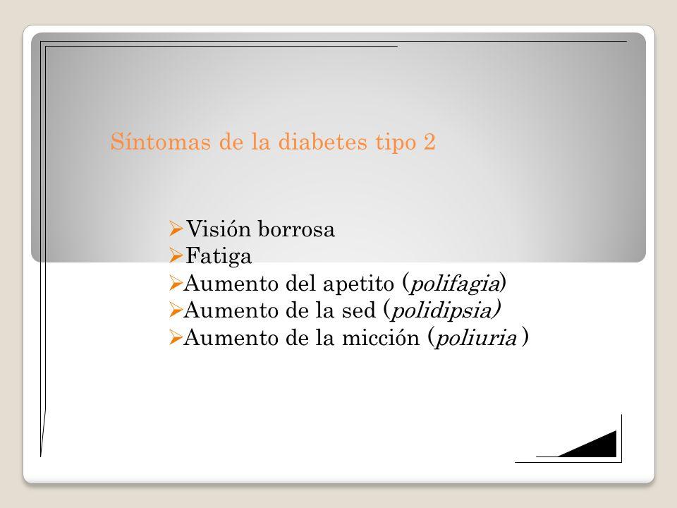 Síntomas de la diabetes tipo 2 Visión borrosa Fatiga Aumento del apetito (polifagia) Aumento de la sed (polidipsia) Aumento de la micción (poliuria )
