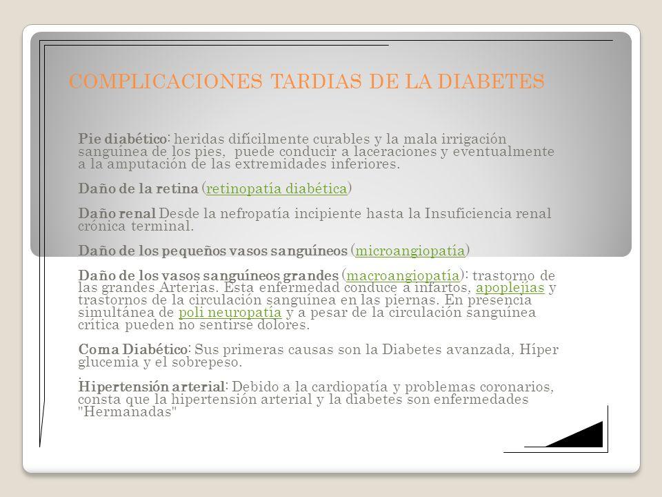 COMPLICACIONES TARDIAS DE LA DIABETES Pie diabético: heridas difícilmente curables y la mala irrigación sanguínea de los pies, puede conducir a lacera