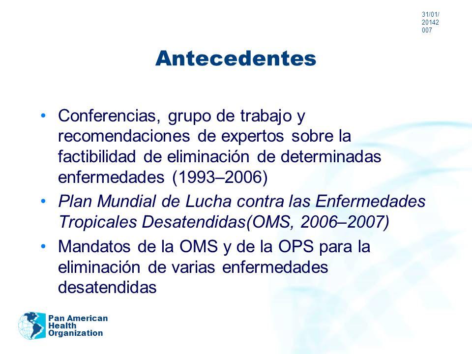 Antecedentes Conferencias, grupo de trabajo y recomendaciones de expertos sobre la factibilidad de eliminación de determinadas enfermedades (1993–2006