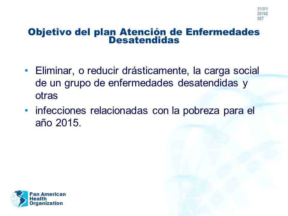 Objetivo del plan Atención de Enfermedades Desatendidas Eliminar, o reducir drásticamente, la carga social de un grupo de enfermedades desatendidas y