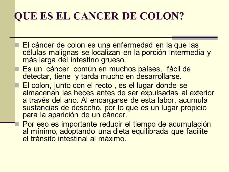 QUE ES EL CANCER DE COLON? El cáncer de colon es una enfermedad en la que las células malignas se localizan en la porción intermedia y más larga del i