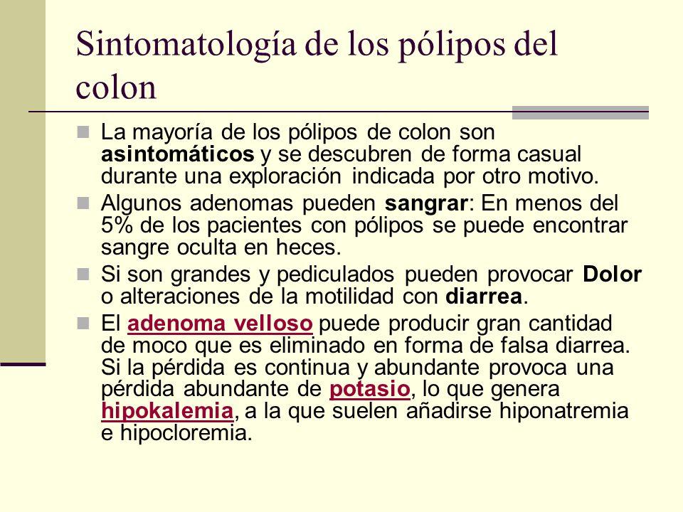 Sintomatología de los pólipos del colon La mayoría de los pólipos de colon son asintomáticos y se descubren de forma casual durante una exploración in