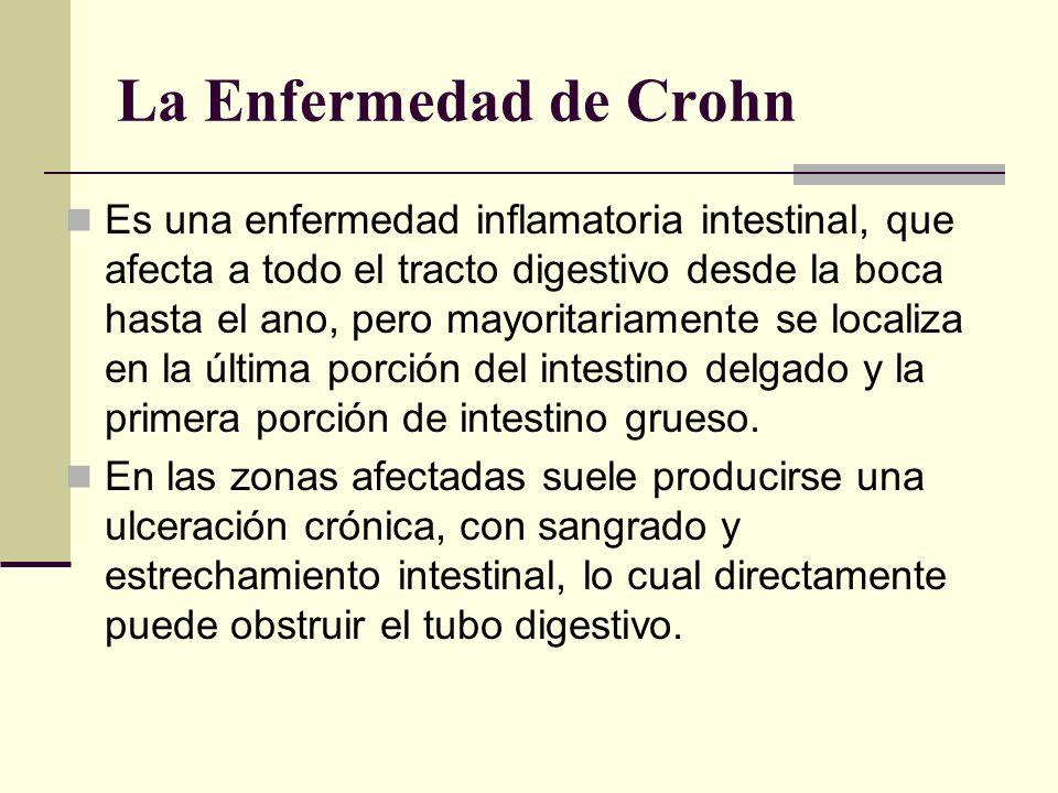 La Enfermedad de Crohn Es una enfermedad inflamatoria intestinal, que afecta a todo el tracto digestivo desde la boca hasta el ano, pero mayoritariame