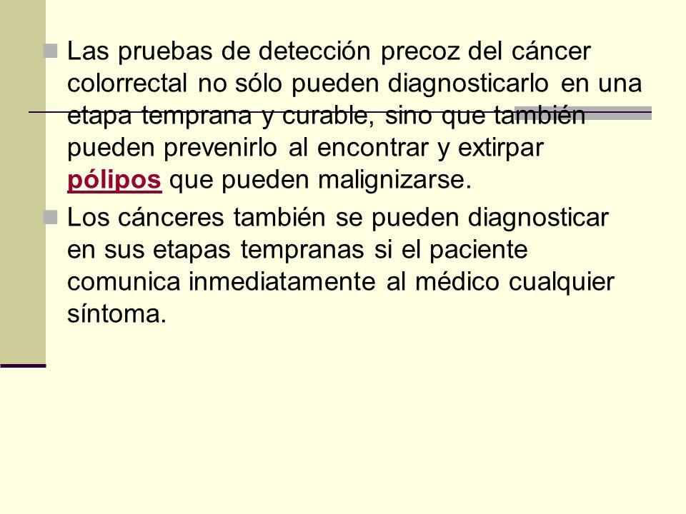 Las pruebas de detección precoz del cáncer colorrectal no sólo pueden diagnosticarlo en una etapa temprana y curable, sino que también pueden prevenir
