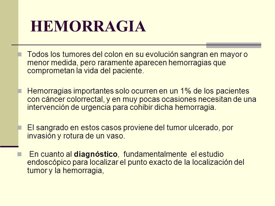 HEMORRAGIA Todos los tumores del colon en su evolución sangran en mayor o menor medida, pero raramente aparecen hemorragias que comprometan la vida de