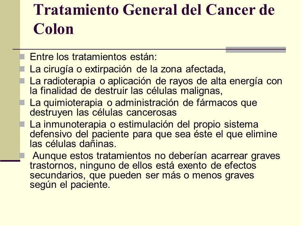 Tratamiento General del Cancer de Colon Entre los tratamientos están: La cirugía o extirpación de la zona afectada, La radioterapia o aplicación de ra
