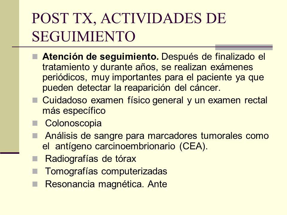 POST TX, ACTIVIDADES DE SEGUIMIENTO Atención de seguimiento. Después de finalizado el tratamiento y durante años, se realizan exámenes periódicos, muy
