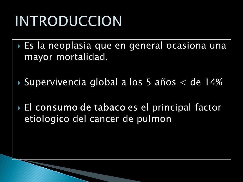 El cáncer pulmonar es la neoplasia que se diagnostica con mayor frecuencia a nivel mundial. La edad media de los pacientes diagnosticados se halla alr