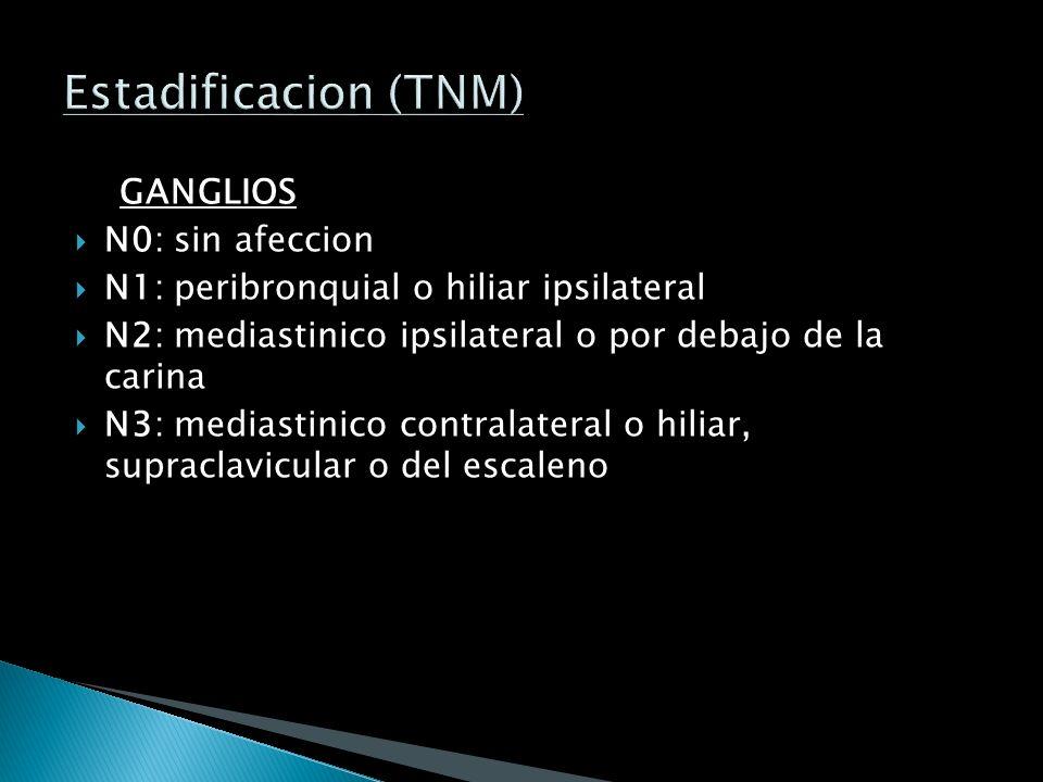 TUMOR: T0: sin tumor TIS: carcinoma in situ T1: tumor <3 cm, sin afeccion visceral pleural T2: tumor 2 cm de la carina T3: extension directa a pleura