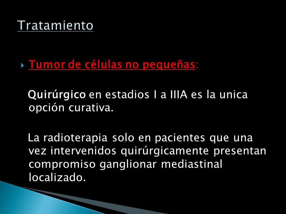 Tumor de células pequeñas: Quimio y Radioterapia. Con Quimio pueden obtenerse altas tasas de respuesta, las que son evaluadas por TAC y la desaparició
