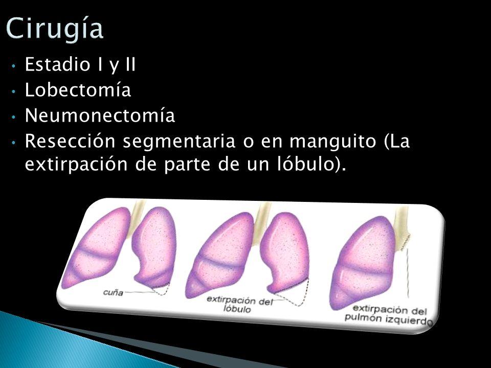 Tumor de células no pequeñas: Quirúrgico en estadios I a IIIA es la unica opción curativa. La radioterapia solo en pacientes que una vez intervenidos