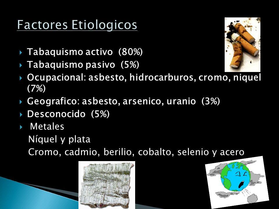 Tabaquismo activo (80%) Tabaquismo pasivo (5%) Ocupacional: asbesto, hidrocarburos, cromo, niquel (7%) Geografico: asbesto, arsenico, uranio (3%) Desconocido (5%) Metales Níquel y plata Cromo, cadmio, berilio, cobalto, selenio y acero