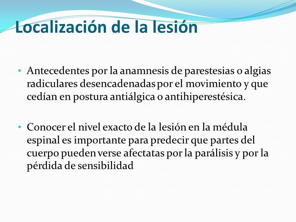 Localización de la lesión Antecedentes por la anamnesis de parestesias o algias radiculares desencadenadas por el movimiento y que cedían en postura a