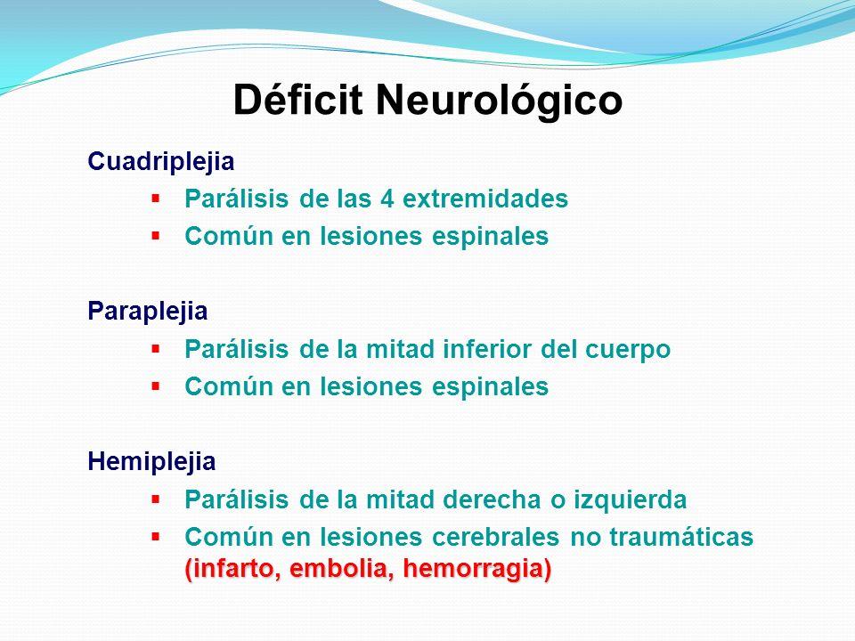 Déficit Neurológico Cuadriplejia Parálisis de las 4 extremidades Común en lesiones espinales Paraplejia Parálisis de la mitad inferior del cuerpo Comú