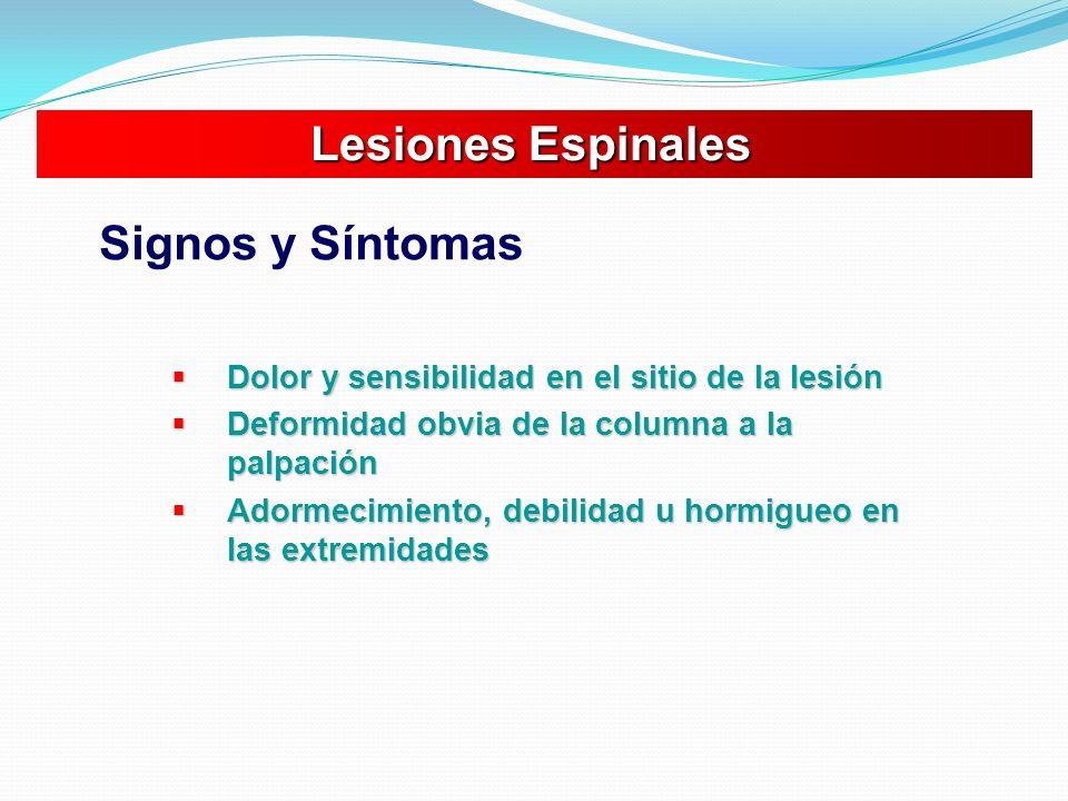 Dolor y sensibilidad en el sitio de la lesión Dolor y sensibilidad en el sitio de la lesión Deformidad obvia de la columna a la palpación Deformidad o