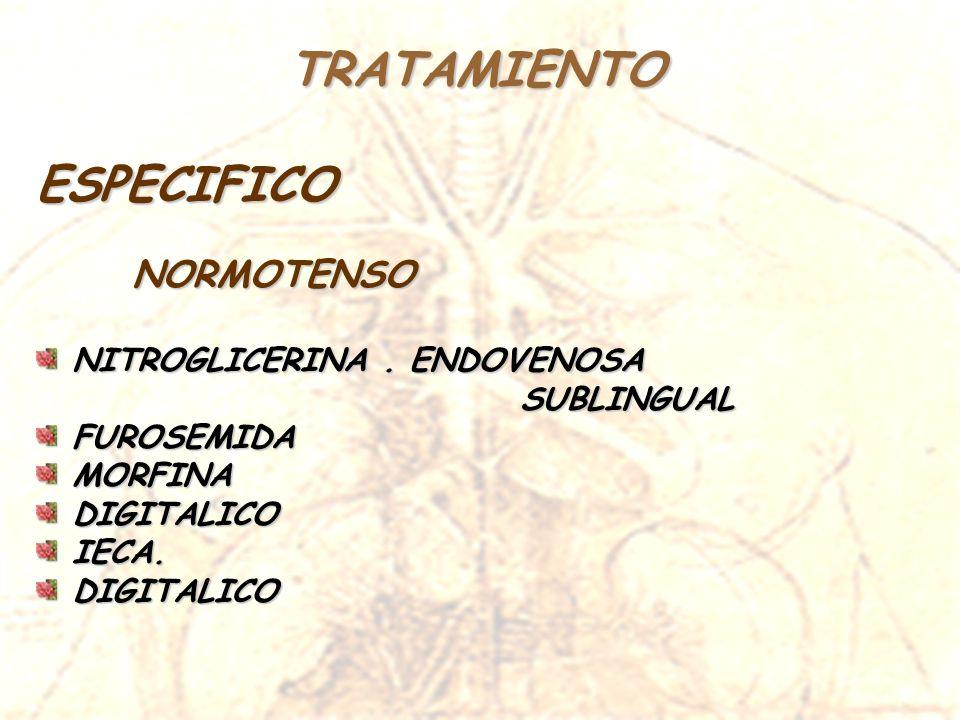 TRATAMIENTOESPECIFICO NORMOTENSO NITROGLICERINA. ENDOVENOSA NITROGLICERINA. ENDOVENOSA SUBLINGUAL SUBLINGUAL FUROSEMIDA FUROSEMIDA MORFINA MORFINA DIG
