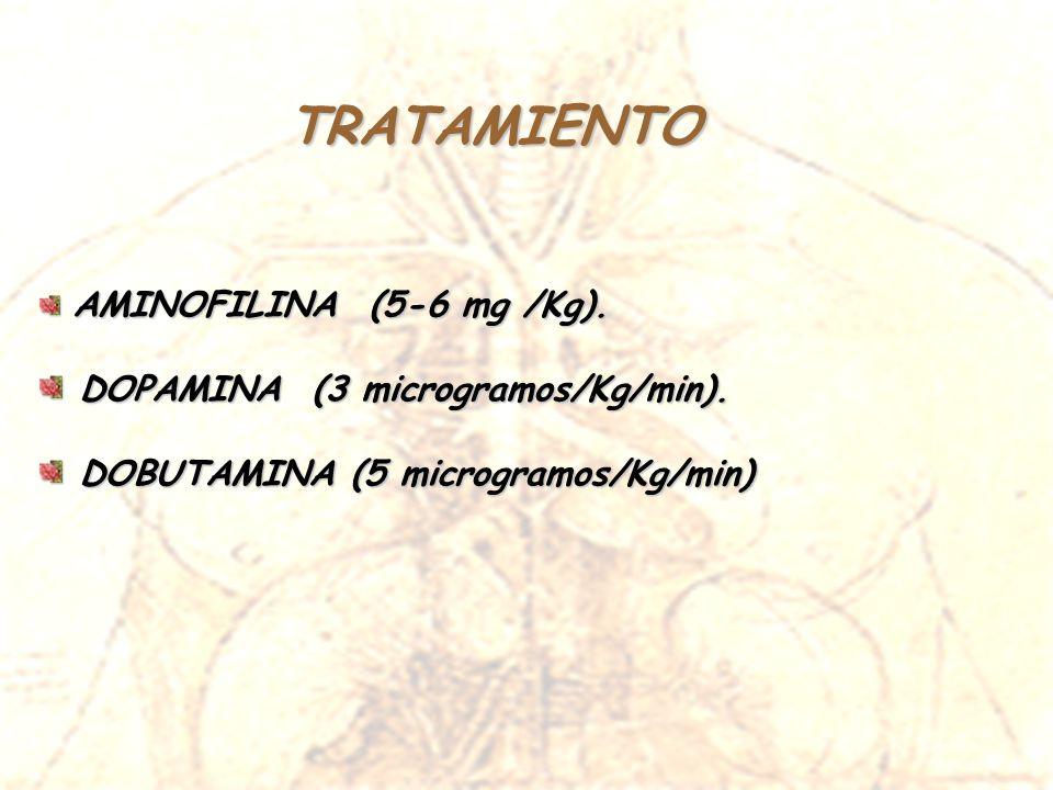 TRATAMIENTO AMINOFILINA (5-6 mg /Kg). AMINOFILINA (5-6 mg /Kg). DOPAMINA (3 microgramos/Kg/min). DOPAMINA (3 microgramos/Kg/min). DOBUTAMINA (5 microg