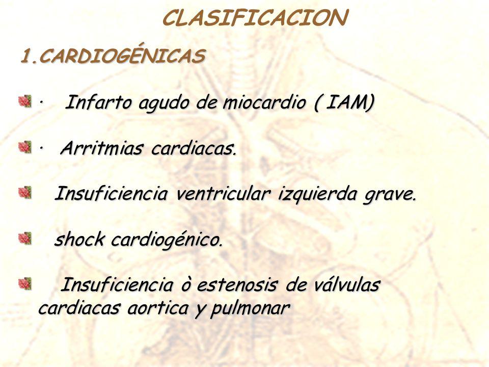 1.CARDIOGÉNICAS · Infarto agudo de miocardio ( IAM) · Arritmias cardiacas. Insuficiencia ventricular izquierda grave. Insuficiencia ventricular izquie