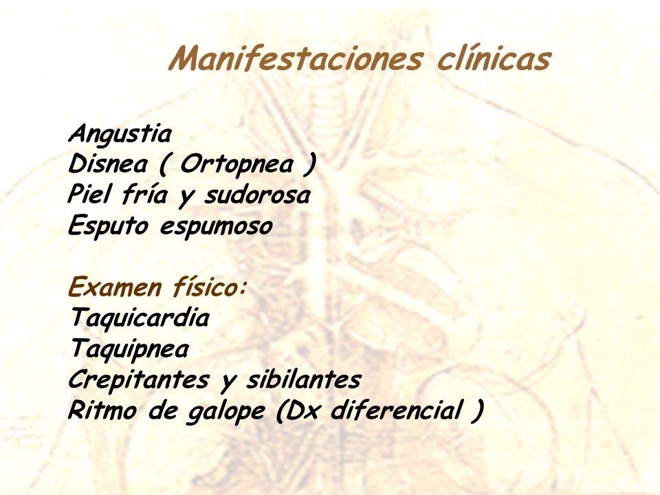 Manifestaciones clínicas Angustia Disnea ( Ortopnea ) Piel fría y sudorosa Esputo espumoso Examen físico: Taquicardia Taquipnea Crepitantes y sibilant