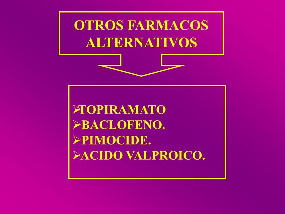 OTROS FARMACOS ALTERNATIVOS TOPIRAMATO BACLOFENO. PIMOCIDE. ACIDO VALPROICO.