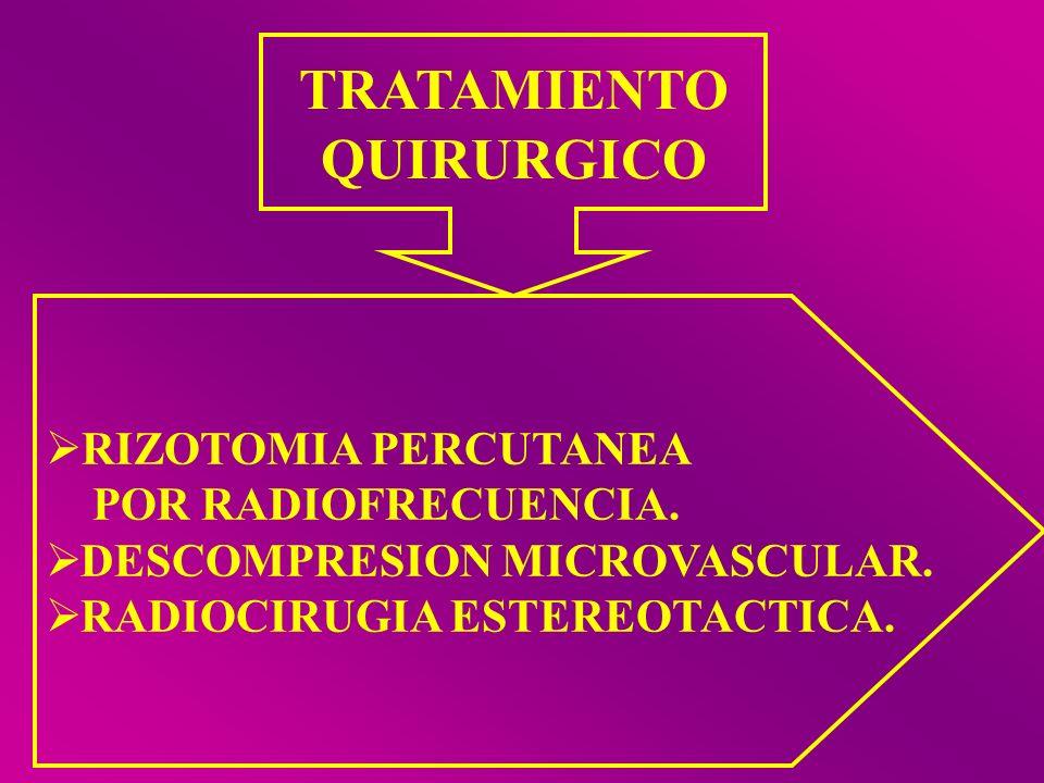 TRATAMIENTO QUIRURGICO RIZOTOMIA PERCUTANEA POR RADIOFRECUENCIA. DESCOMPRESION MICROVASCULAR. RADIOCIRUGIA ESTEREOTACTICA.