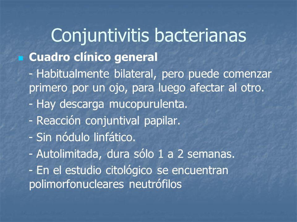 Conjuntivitis bacterianas Cuadro clínico general - Habitualmente bilateral, pero puede comenzar primero por un ojo, para luego afectar al otro. - Hay