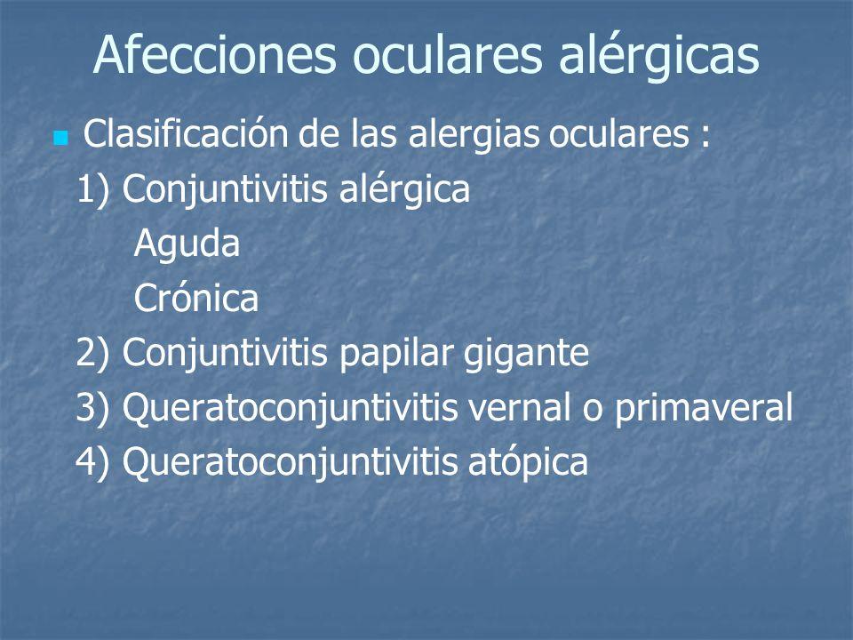 Afecciones oculares alérgicas Clasificación de las alergias oculares : 1) Conjuntivitis alérgica Aguda Crónica 2) Conjuntivitis papilar gigante 3) Que