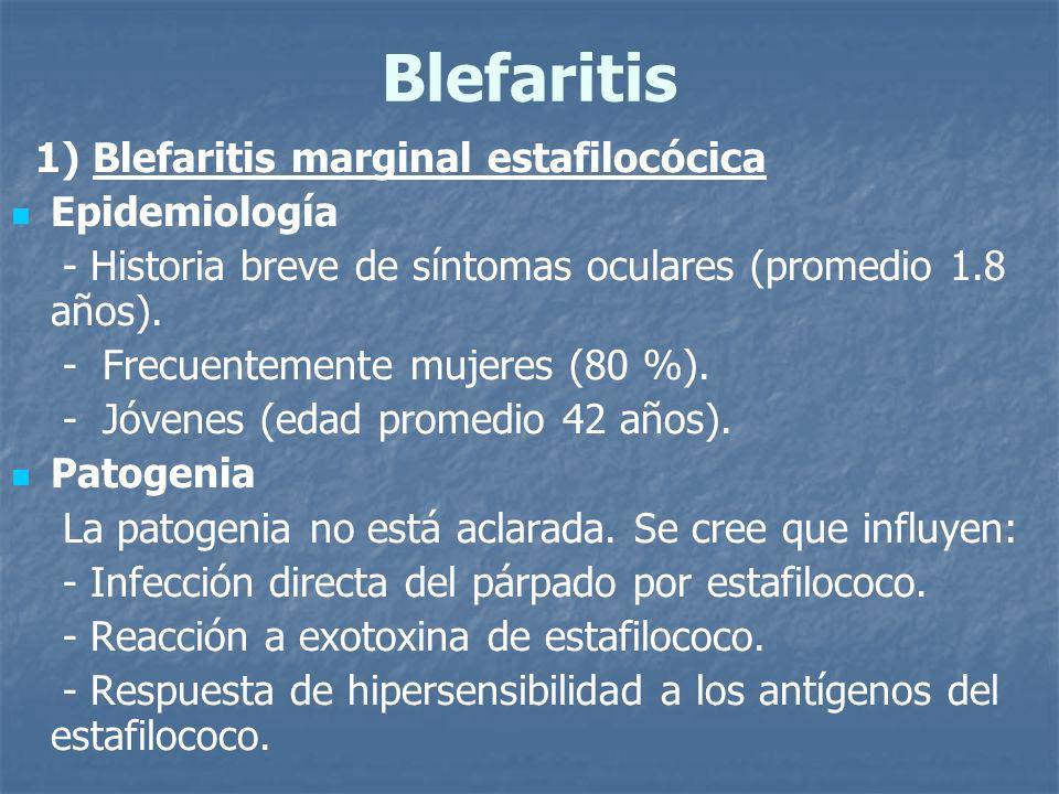 Blefaritis 1) Blefaritis marginal estafilocócica Epidemiología - Historia breve de síntomas oculares (promedio 1.8 años). - Frecuentemente mujeres (80